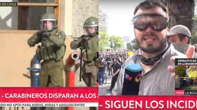 Video: el momento en el que balean a un periodista de TN en Chile