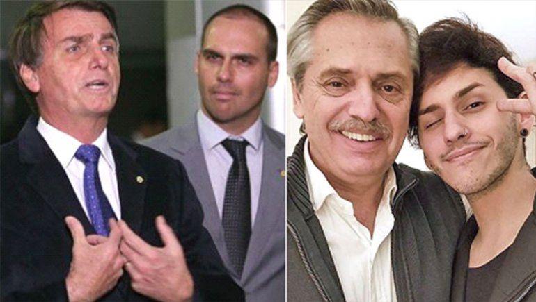 Violencia, discriminación y tensión con Brasil: el hijo de Bolsonaro se burló del hijo de Alberto