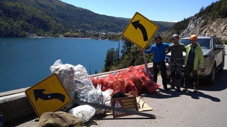 Sacaron la basura de los acantilados del lago Lácar