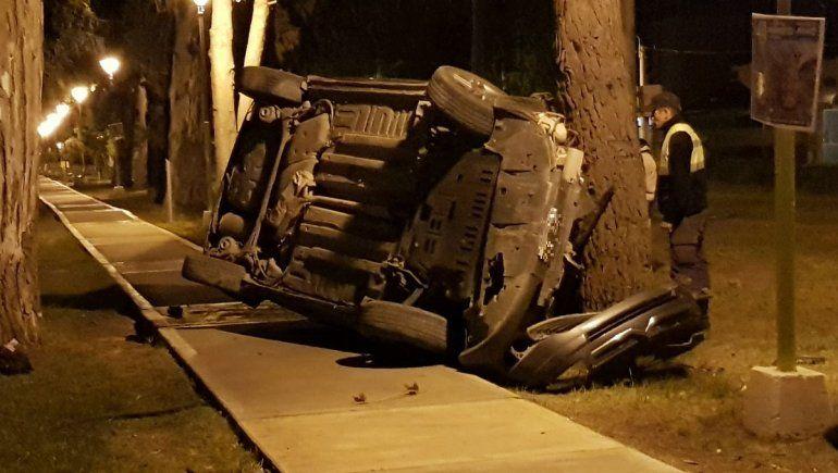 Borracho volcó y se incrustó contra un árbol en la Ruta 7