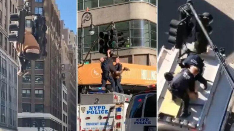 Trepó al semáforo y frenó el tránsito en Manhattan