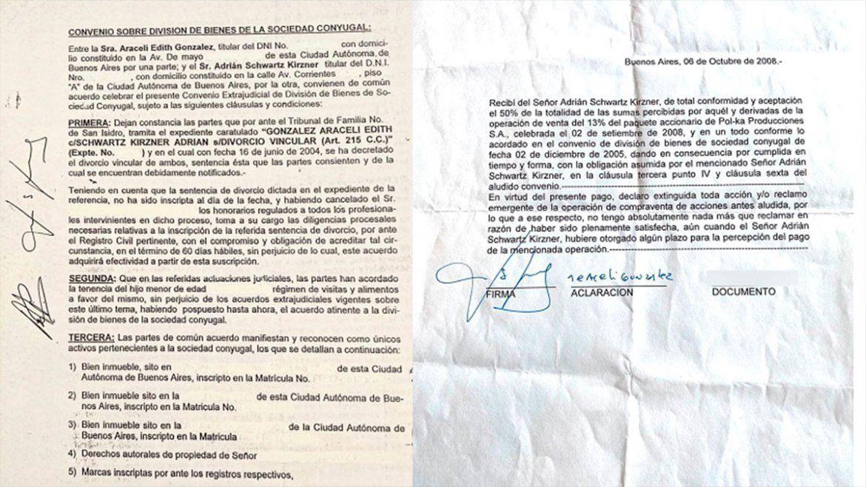 Convenio sobre división de bienes de la sociedad conyugal y firma de conformidad de Araceli González.