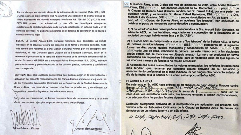 Documento del acuerdo entre Adrián Suar y Araceli González, certifacado y constancia de pago.