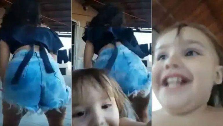 La desopilante travesura de una niña que arruinó el twerking de su hermana