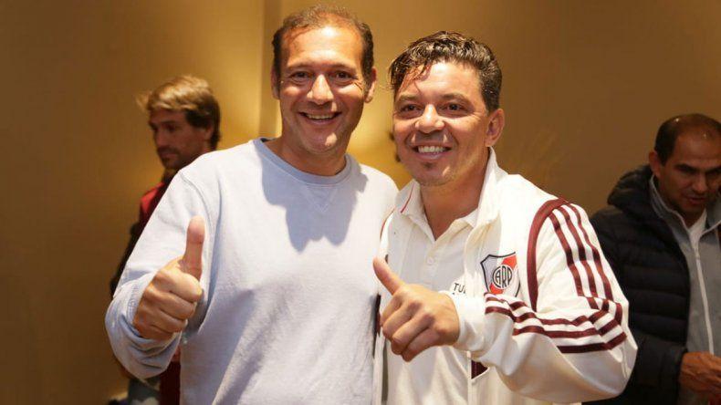 Gutiérrez visitó al plantel de River y reconoció a Gallardo como Huésped de Honor