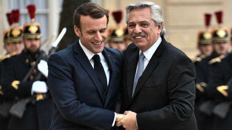 Alberto Fernández en Francia: apoyo de Macron y reclamo de empresarios