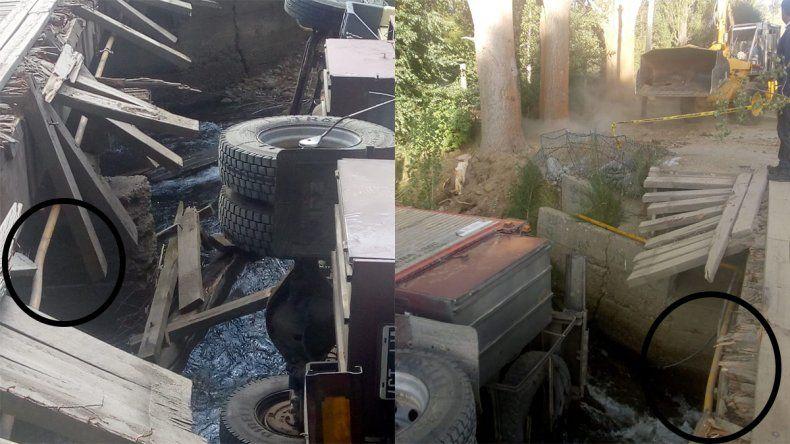 Junín de los Andes: un caño de gas condiciona el rescate del camión que cayó al río
