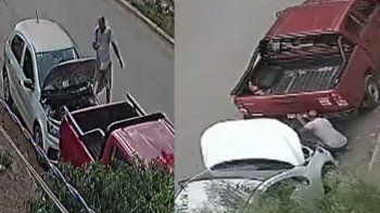 simulo que arreglaba su auto y robo una cubierta de otro