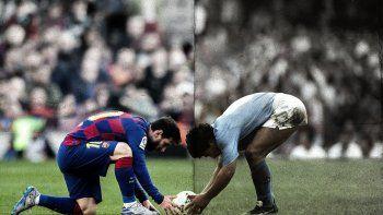 La original imagen de la cuenta del Barcelona, con Messi y Diego acomodando el balón.