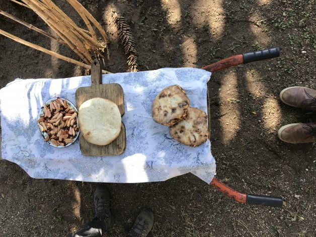 Tortilla al rescoldo y piñones. Productos típicos de la cocina mapuche