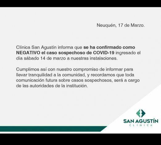 El informe de la Clínica San Agustín sobre el caso de coronavirus.