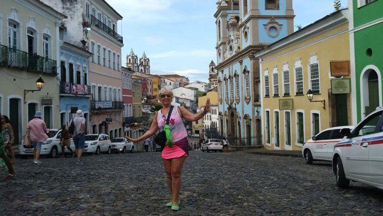 Marta durante el único desembarco del viaje en Brasil.