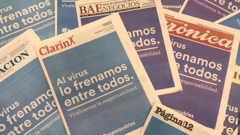 Todos los diarios del país unidos contra el coronavirus