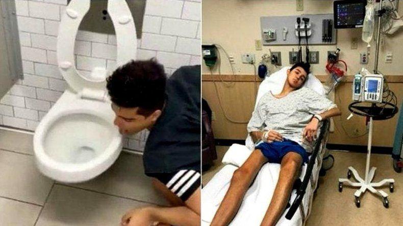 ¡Ahí lo tenés!: Lamió un inodoro para hacer el desafío coronavirus y terminó infectado