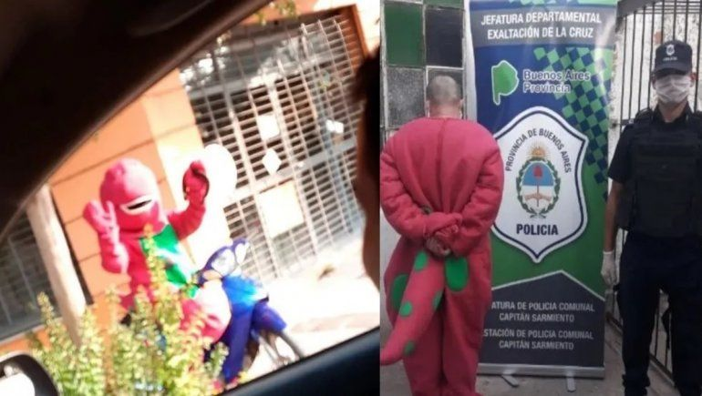Fue a ver a su novia disfrazado de Barney y quedó detenido