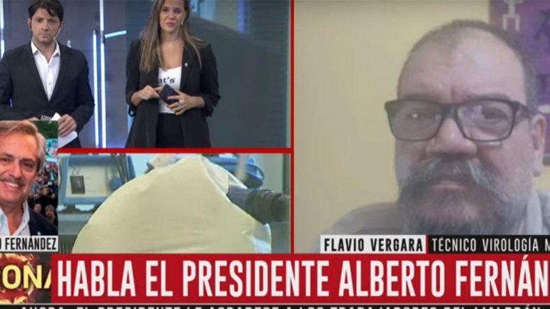 Alberto Fernández irrumpió al aire y científico del Malbrán rompió en llanto