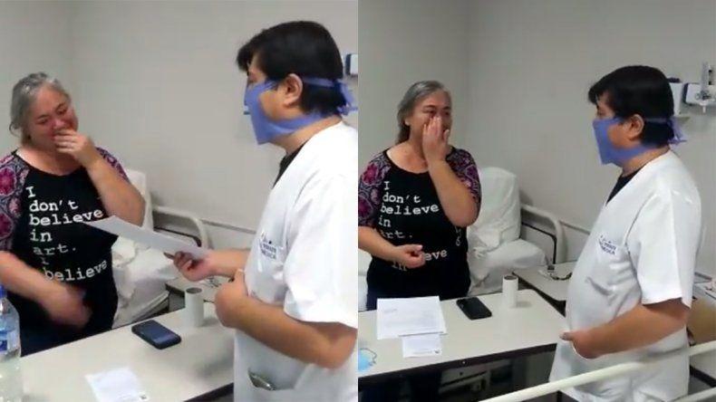 Emoción y alegría en el Bouquet Roldán: así le dan el alta a una mujer recuperada de COVID-19
