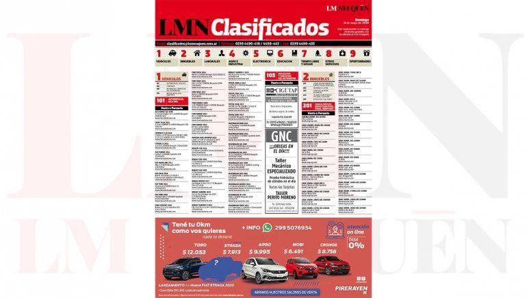 Mirá los clasificados de hoy de LM Neuquén