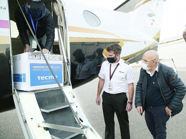 Los insumos llegaron a través de los vuelos a Buenos Aires.