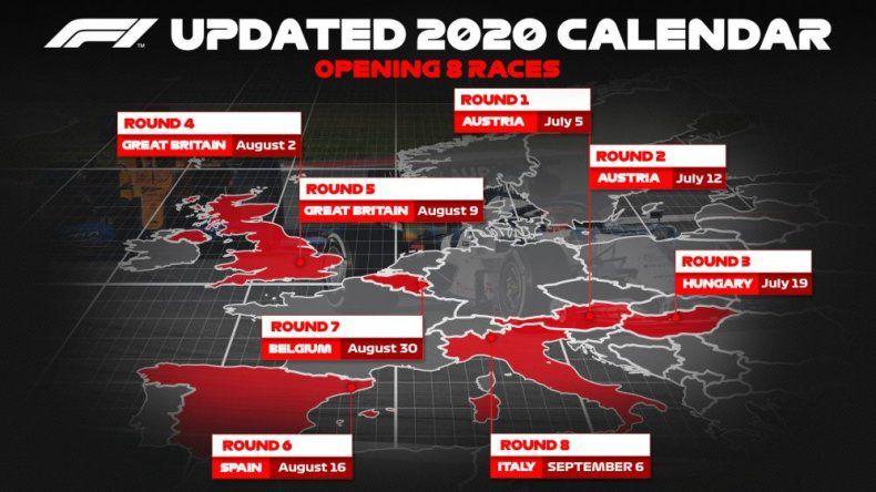 La Fórmula 1 anunció las primeras ocho fechas de su 2020
