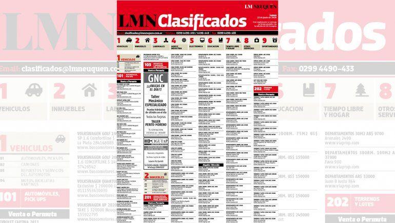Los clasificados de hoy de LM Neuquén