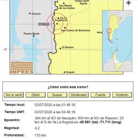 Los datos del sismo en Villa La Angostura