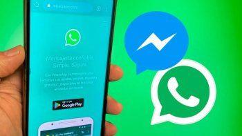 Facebook y WhatsApp podría compartir un chat.