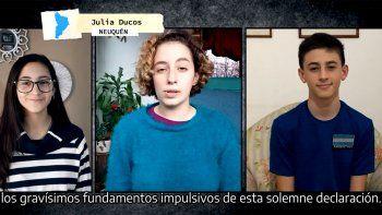 dia de la independencia: jovenes neuquinas participaron del acto virtual
