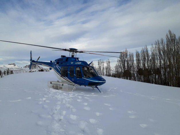 Rescate en helicóptero del gobierno provincial.