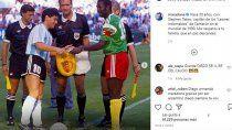 maradona volvio a las redes para recordar al fallecido capitan de camerun