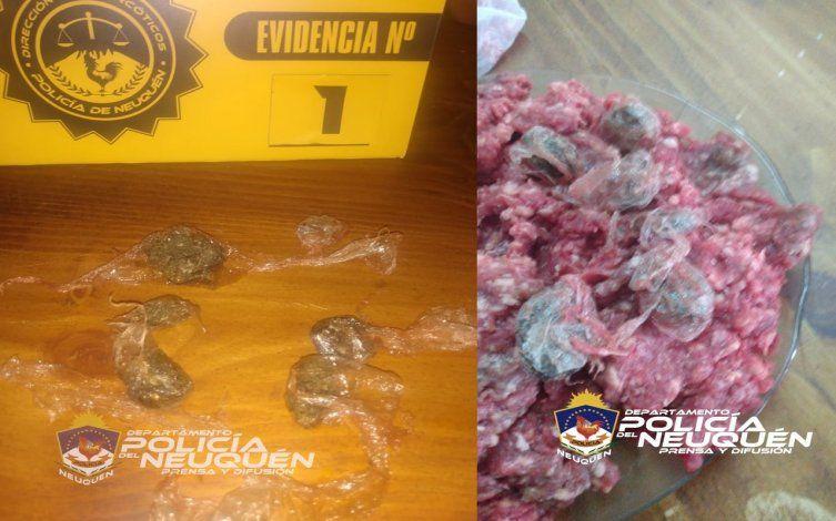 Envoltorios de marihuana hallados en carne picada.
