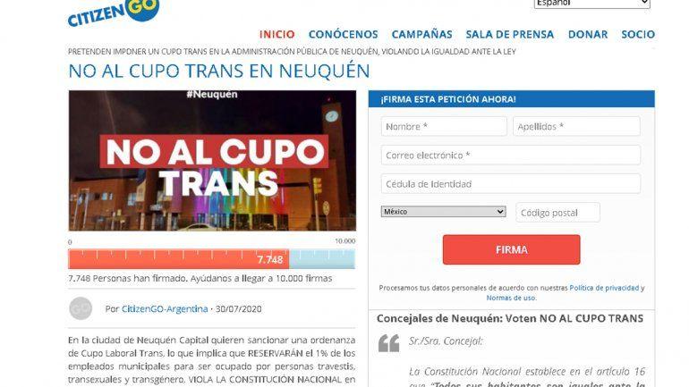 Neuquén: juntan firmas para que el cupo trans no tenga aval