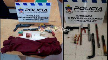 Las armas secuestradas en la vivienda de barrio El Progreso.