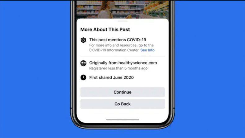 Facebook mostrará una advertencia antes de compartir notas sobre coronavirus