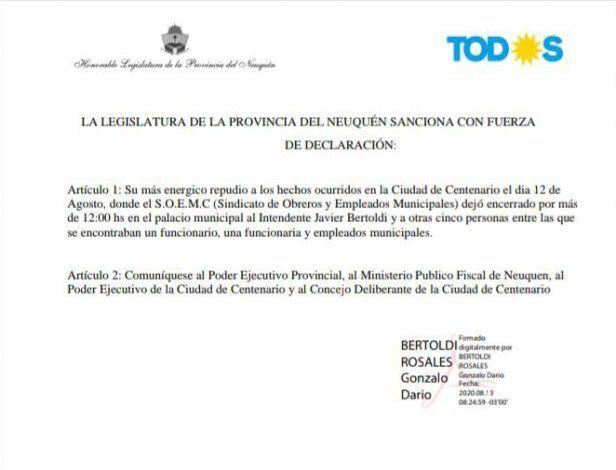 El repudio de Gonzalo Bertoldi.