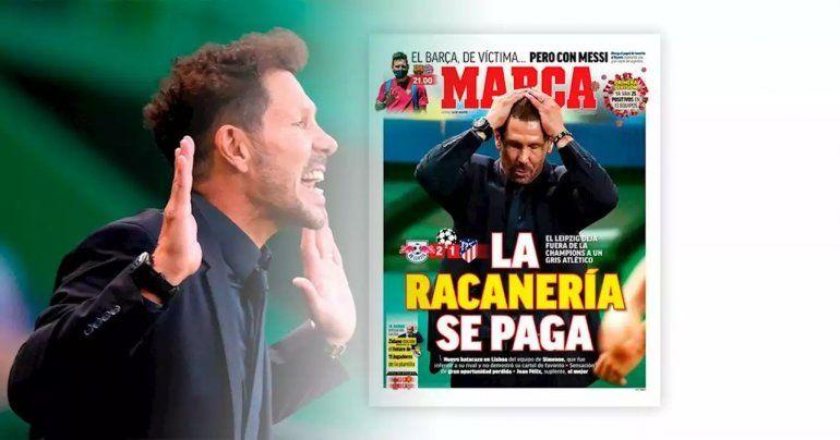 La tapa del diario deportivo Marca le pegó a Simeone.