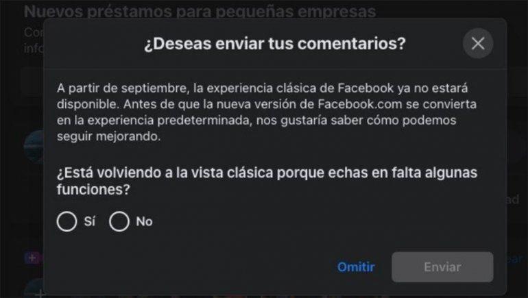 El antiguo diseño web de Facebook desaparecerá en septiembre