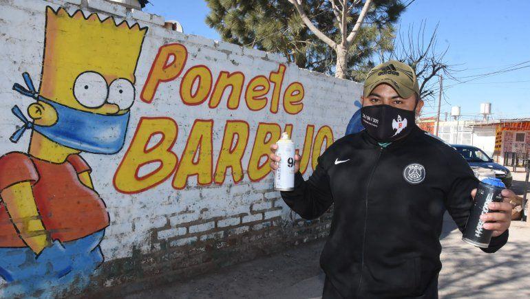 Ciudad: muralista crea conciencia sobre el uso del barbijo
