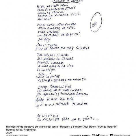 El manuscrito fue publicado por la familia de Gustavo Cerati.