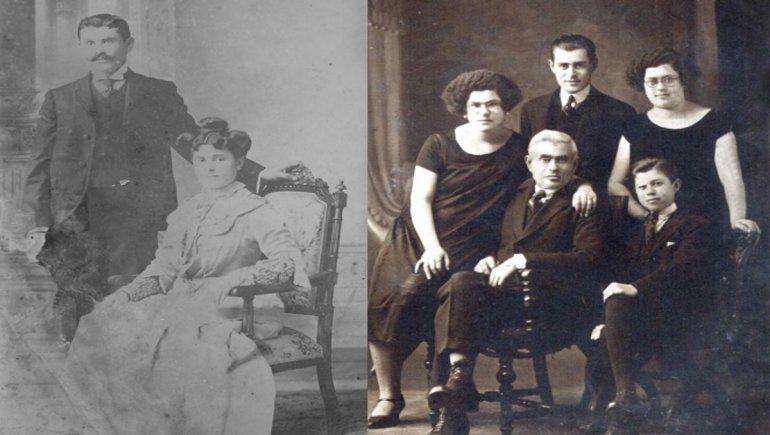 José Edelman con su primera esposa, María Esther Shapiro, y con sus hijos.