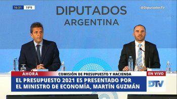 El ministro Guzmán presenta el presupuesto 2021 en Diputados
