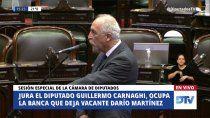 diputados acepto la renuncia de martinez y asumio carnaghi