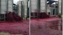 viral: se rompio un tanque y derramo 50 mil litros de vino