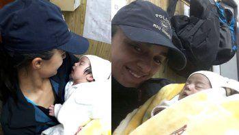 una policia amamanto a una beba que fue abandonada en roca