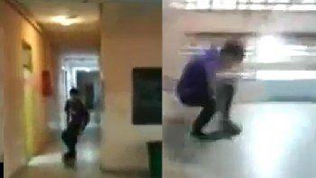 Polémica: se filmó saltando en skate dentro del colegio