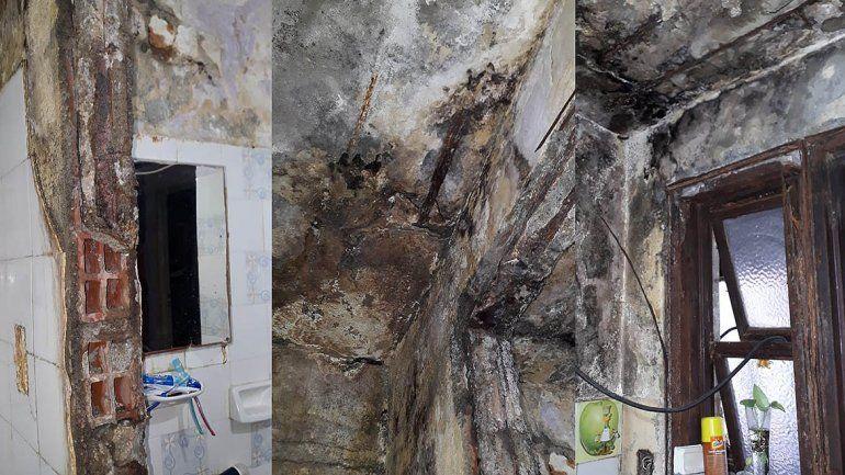Por la pérdida de agua del vecino, viven enfermos y con miedo a que se derrumbe la casa