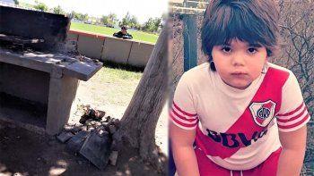 un nene estuvo 4 dias en coma tras caerle una parrilla de cemento sobre la cabeza