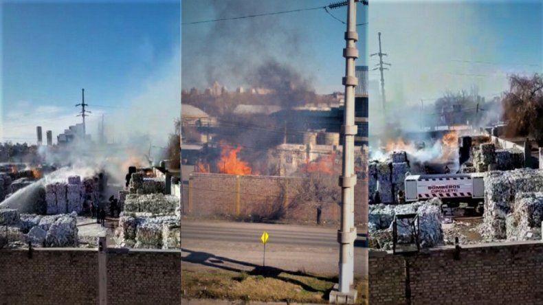 Impresionante incendio en la papelera de Ruta 151