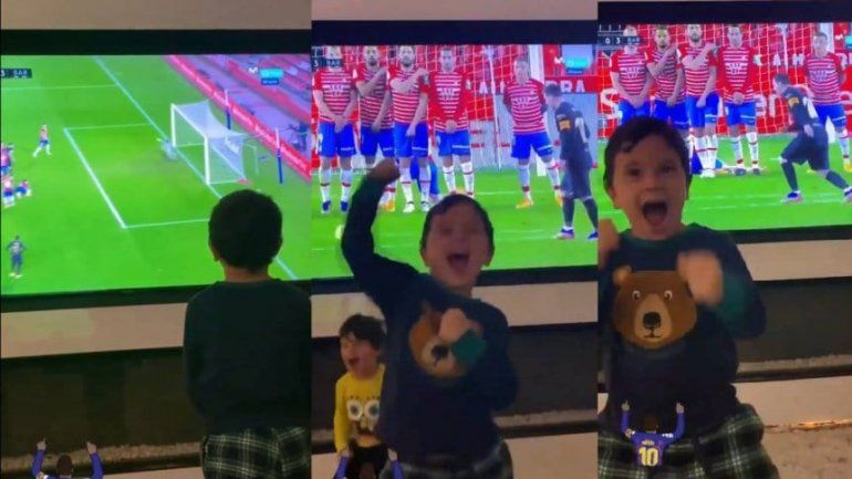 Los golazos de Messi y el alocado festejo de sus hijos
