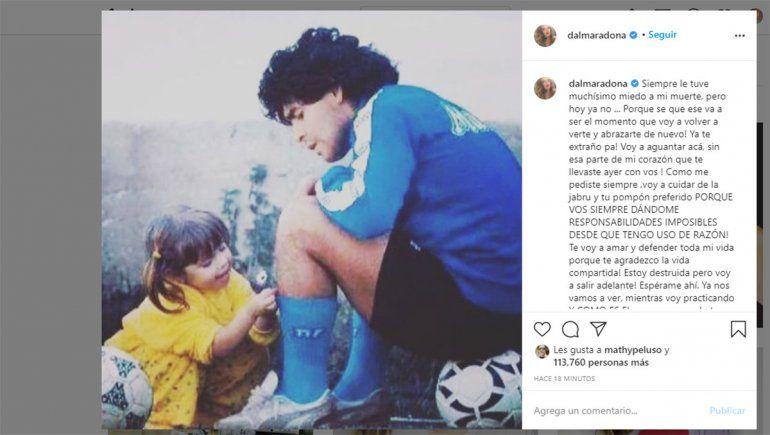 El emocionante posteo de Dalma Maradona: Esperame, ya nos vamos a ver